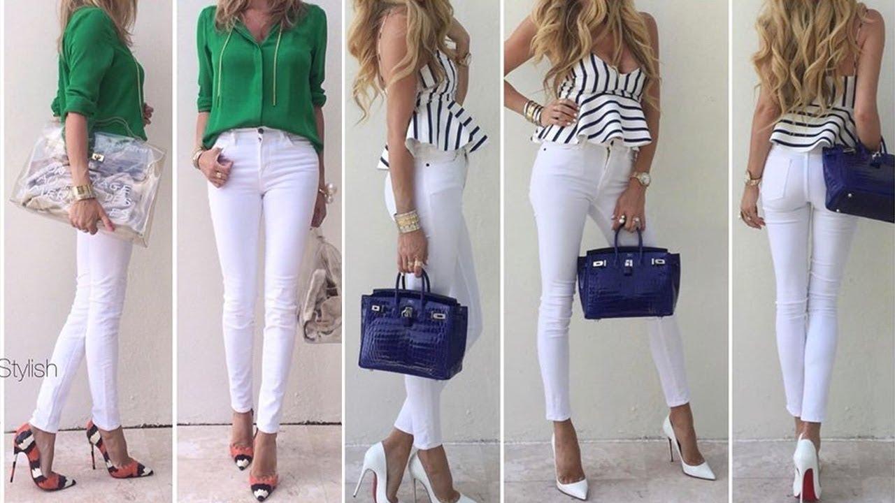 Como Combinar Un Jean Blanco Verano 2019 1 Pantalon 7 Outfits Youtube