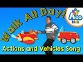 Walk All Day  |  Action Verbs and Vehicles Song | BINGOBONGO Learning