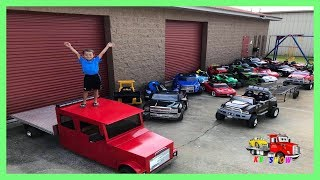 Kruz Playing With His Power Wheels , Custom Built Trailers and Mini Rollback
