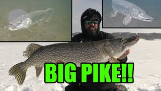Ice Fishing for BIG PIKE 40 Insane UNDERWATER Footage