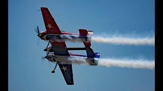 "The much-anticipated air show debut of the ""Yak-110"" (two Yak-55s p..."