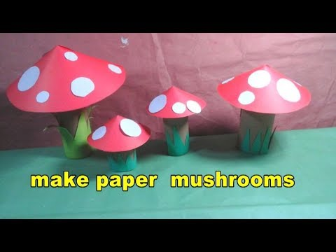 how to make beautiful paper mushrooms for kids | easy craft tutorial
