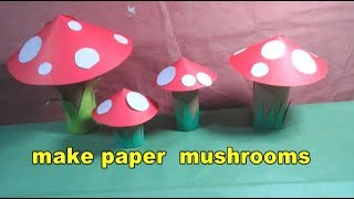 how to make beautiful paper mushrooms for kids   easy craft tutorial