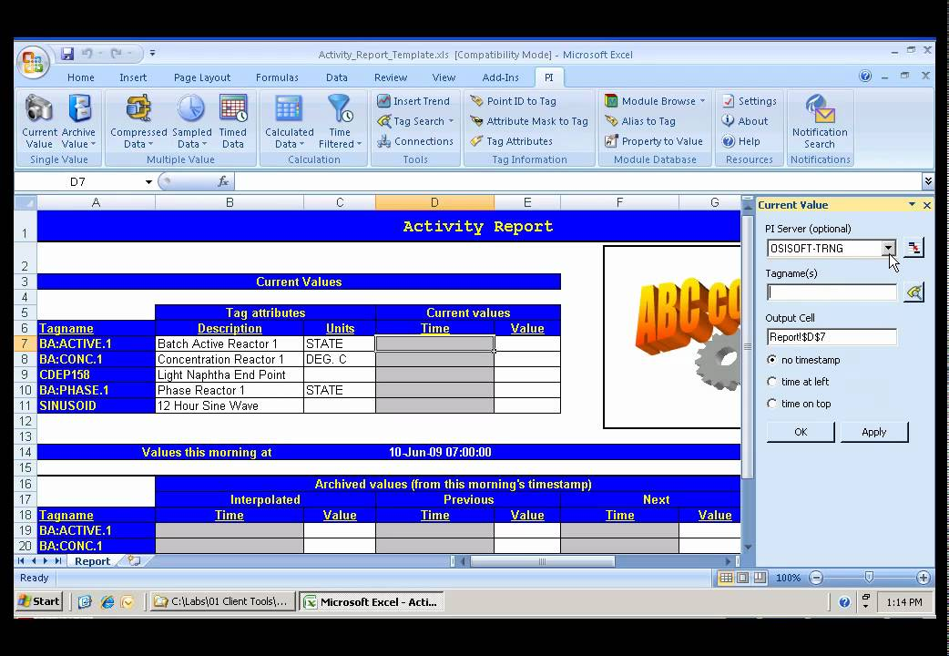 Osisoft Create A Simple Report In Pi Datalink V2010 Youtube