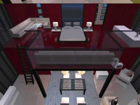 Los sims 2 construcci n de casa moderna cubo rojo youtube for Casa moderna 9 mirote y blancana