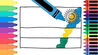 How to Draw Rwanda Flag - Drawing the Rwandan Flag - Coloring Pages for kids | Tanimated Toys