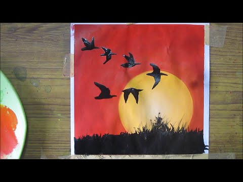 watercolor painting for beginners,easy sunset painting, speed painting