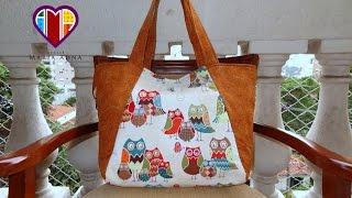 Aula em vídeo da bolsa de tecido das Corujas I. #DIY. Beautiful fabric tote bag. Fabric bags