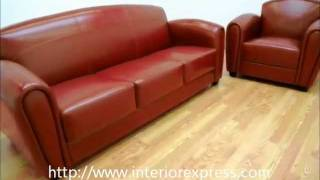 Interiorexpress Sally Red Leather Curved Back Modern Sofa & Chair Set