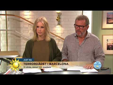 13 döda och minst 100 skadade i terrordådet i Barcelona - Nyhetsmorgon (TV4)