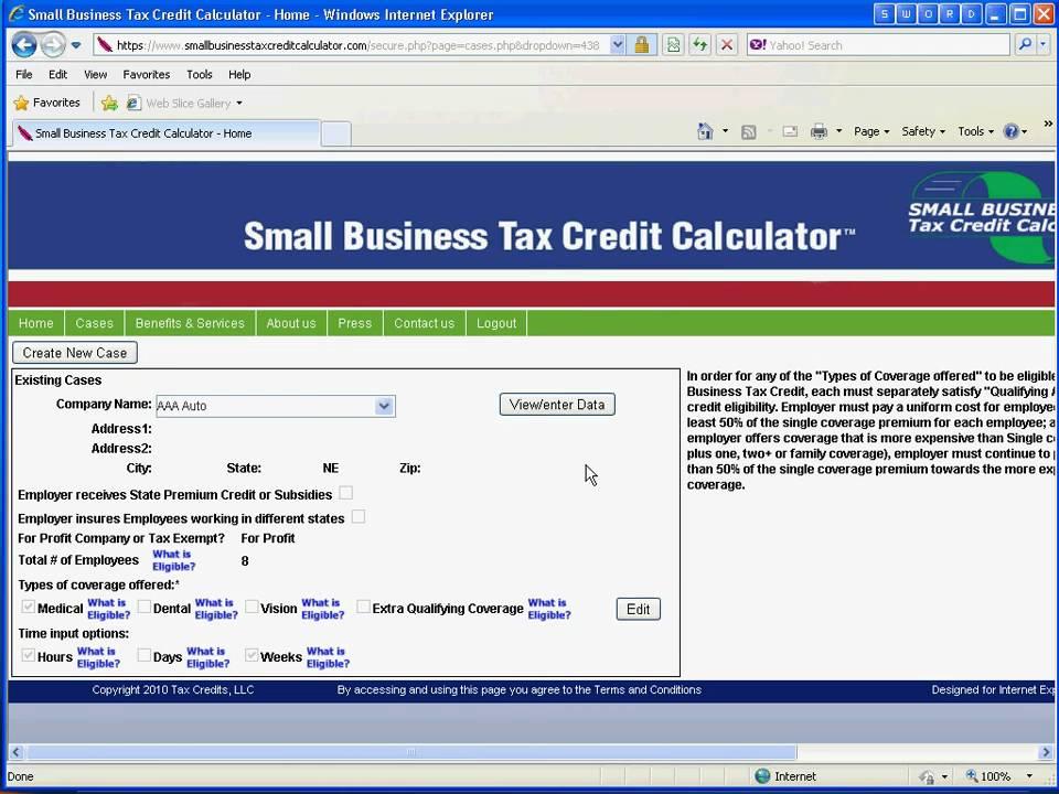 small business tax credit calculator  single company