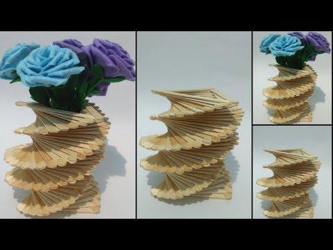 How To Make Ice Cream Stick Flower Vase || Ice Cream Stick Craft Ideas
