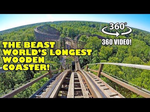 VR 360 The Beast World's Longest Wooden Roller Coaster POV Kings Island Ohio