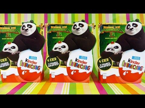 Kung Fu Panda 3 Kinder Surprise 4 x Egg Packs Panda Toys 2016