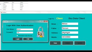 c login with user authentication