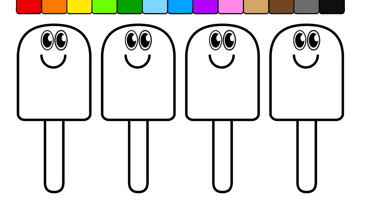 learn colors for kids and colour this popsicle smiley coloring