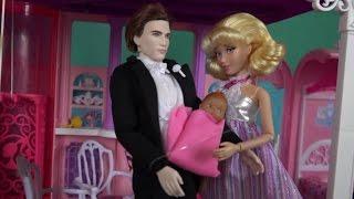 Золушка родила в доме мечты Барби, принц забирает Золушку домой, мультики с куклами Барби