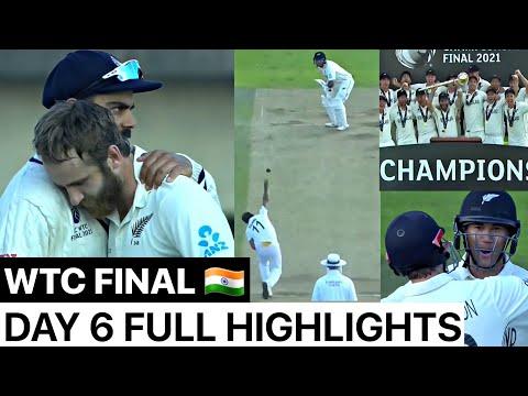 WTC FINAL India vs New Zealand Day 6 Full Highlights,Ind vs Nz WTC Final Day 6 Match Highlights