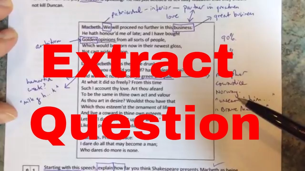 Shakespeare Extract Question Walk Through Using Macbeth Youtube