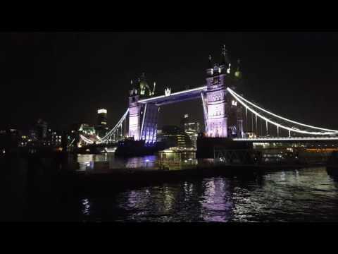 MS Berlin passing through Tower Bridge London at night FTI Cruises