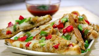 Bread pizza recipe on tawa without oven/Quick and easy bread pizza recipe at home