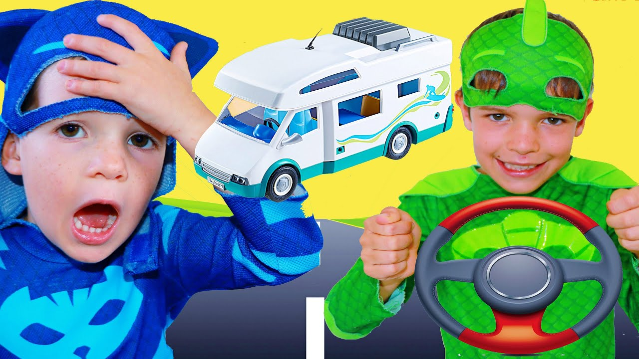 PJ Masks Gekko's A BAD DRIVER on Vacation RV Road Trip without CATBOY! Full PJ Mask Episodes