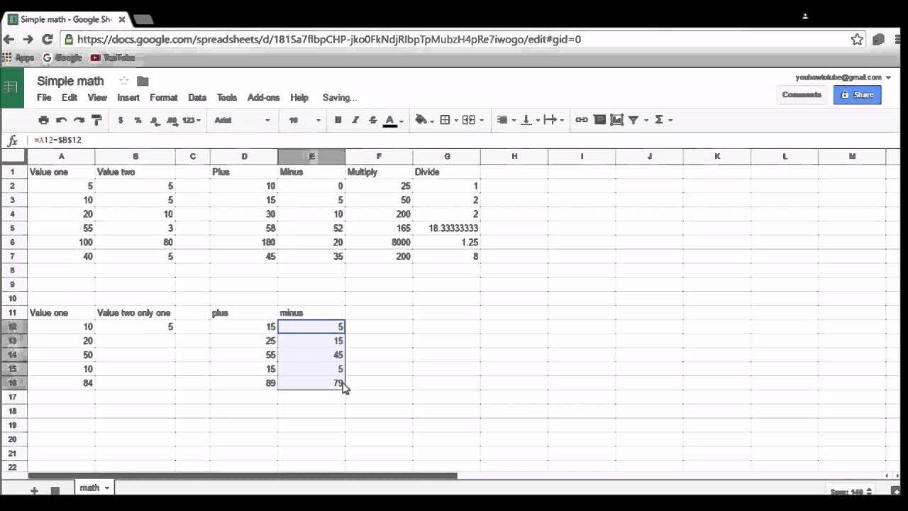 How to do simple math formula using Google spreadsheets