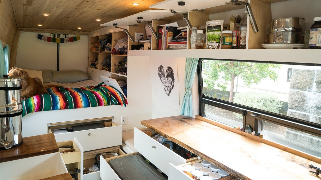 Tiny Living In Our Van With Tons Of Storage Van Life