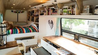 TINY LIVING in our VAN with TONS of STORAGE!!! | VAN LIFE
