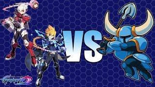Azure Striker Gunvolt 2 - GV & Copen VS Shovel Knight! [No Damage]