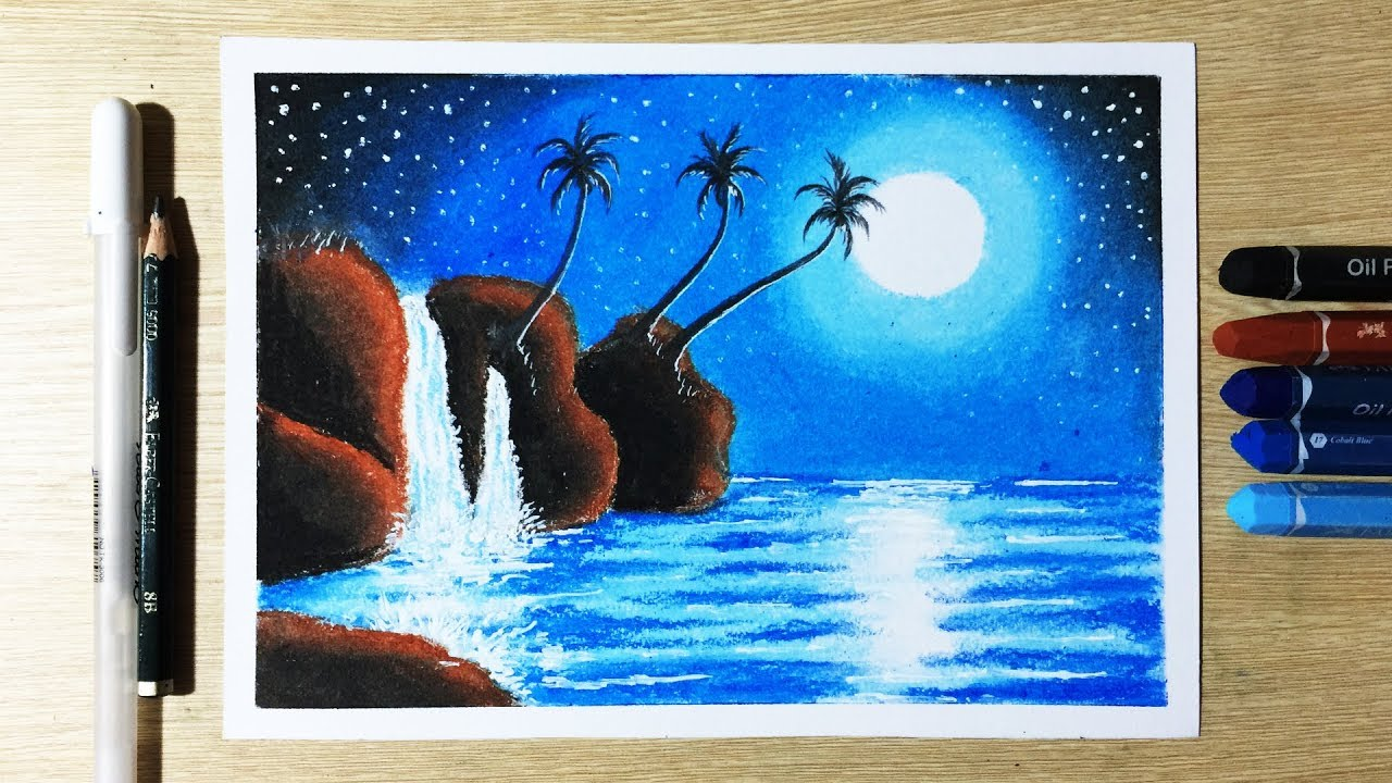 How To Draw Moonlight Waterfall Scenery With Oil Pastel Step By Step