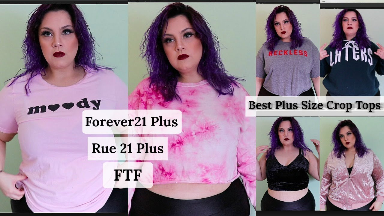 best plus size crop tops haul | forever21 plus, rue 21, ftf - youtube