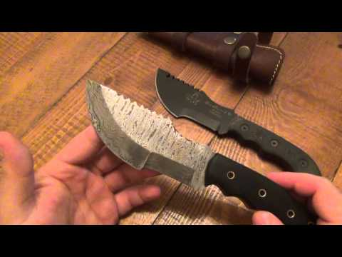"Knife Review : Etlines ""Tracker Hunter""  (Damascus Tom Brown Tracker?)"
