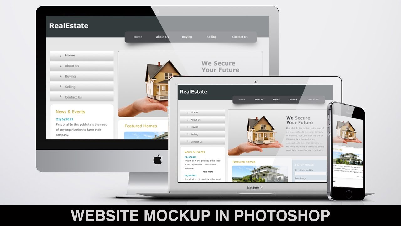 how to create a website mockup template design in photoshop?
