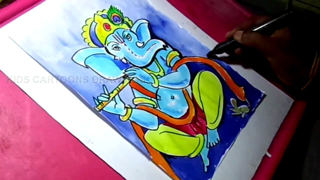 How to Draw Lord Ganesha Color Drawing YouTube