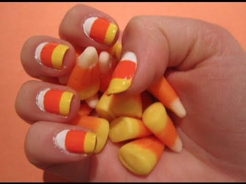 Tutorial Halloween Candy Corn Nail Art Youtube