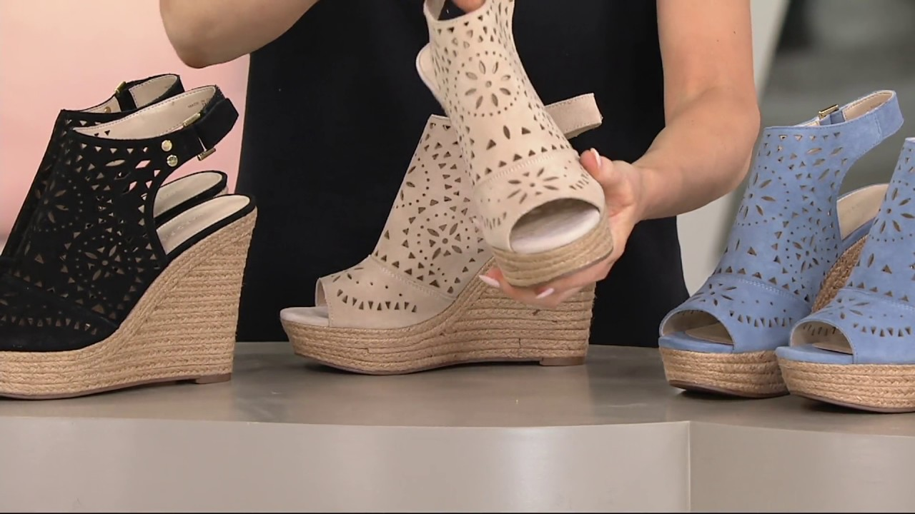 f6522f0c419a Marc Fisher Suede Perforated Peep-toe Wedges - Harlea on QVC - YouTube