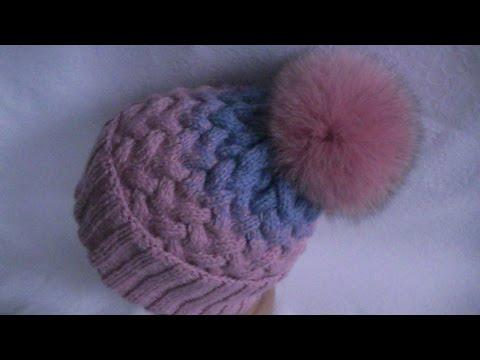 шапка с узором плетенка спицами видео уроки