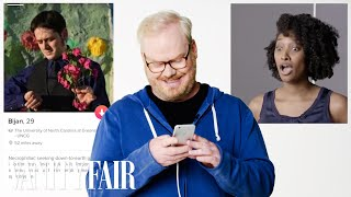 "On the latest episode of ""Tinder Takeover,"" Jim Gaffigan takes over a volunteer's Tinder account. Still haven't subscribed to Vanity Fair on YouTube?"