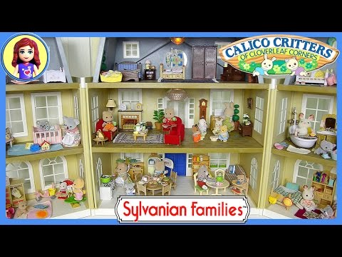 Sylvanian Families Calico Critters House Tour Cloverleaf Manor Grand Hotel - Kids Toys
