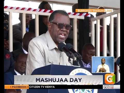 President Hage Geingob of Namibia congratulates Uhuru and Raila for the 'Handshake'