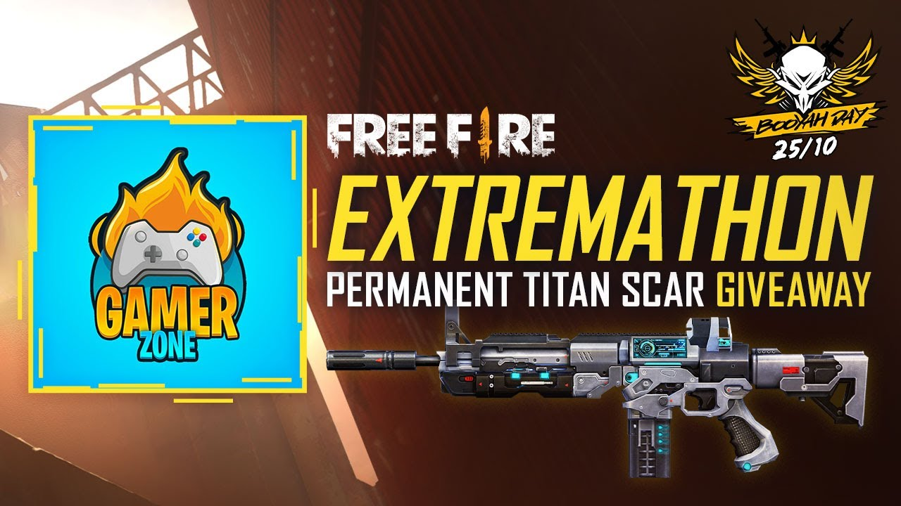 FREE FIRE EXTREMATHON TITAN SCAR GIVAWAY - GAMERS ZONE - FREE FIRE LIVE