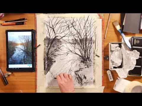 Как рисовать углем видео уроки