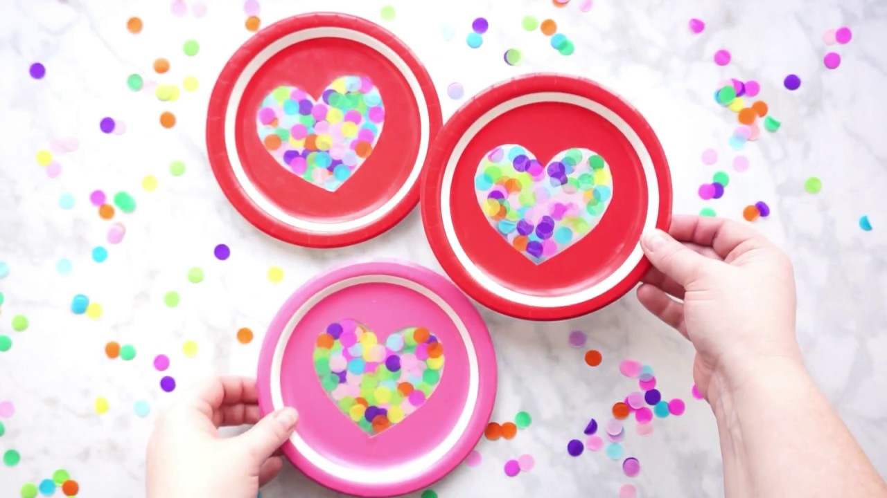 Paper Plate Heart Suncatcher Valentine S Day Craft Youtube
