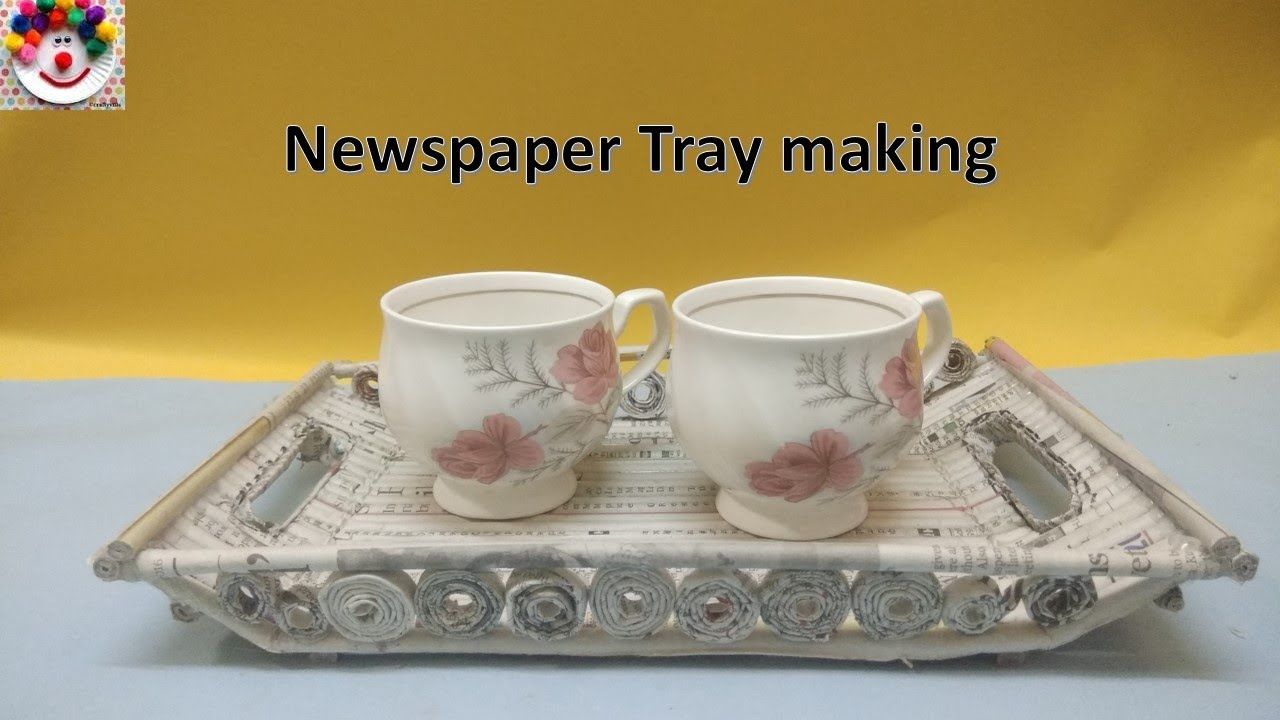 Best out of waste ideas how to make tray with news paper for Waste out of waste ideas