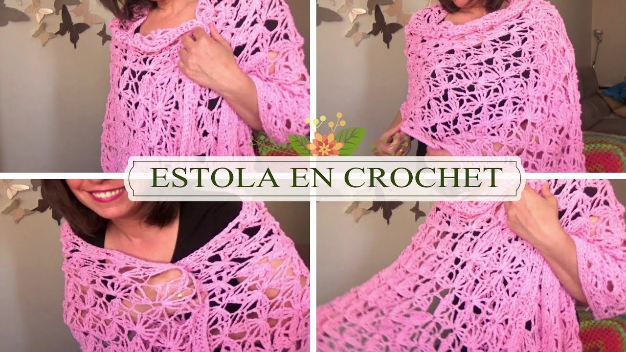 CHAL /ESTOLA RECTANGULAR DE FLORES EN CROCHET |GANCHILLO FACIL - YouTube