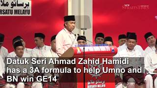 Zahid offers 'winning recipe' for Umno in GE14