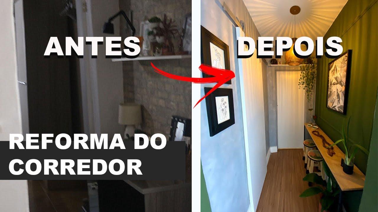 TRANSFORMAÇÃO DO CORREDOR | COMO REFORMEI O CORREDOR COM MUITO DIY