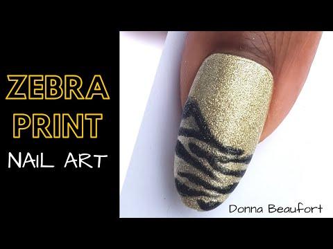 Zebra Print Nail Art Tutorial / with glitter pigment and gel polish thumbnail