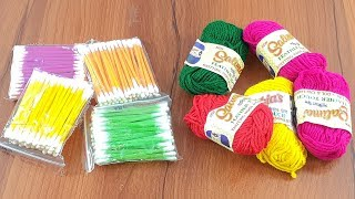 amazing home decorating idea with color Woolen & cotton buds   DIY arts and crafts